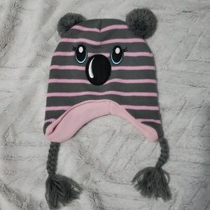 Gray and pink koala hat with pom poms womens